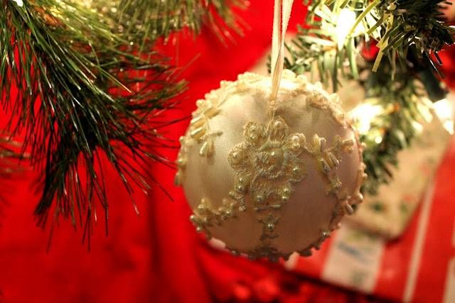 Holiday Ornament Made From Wedding Or Baptism Dress