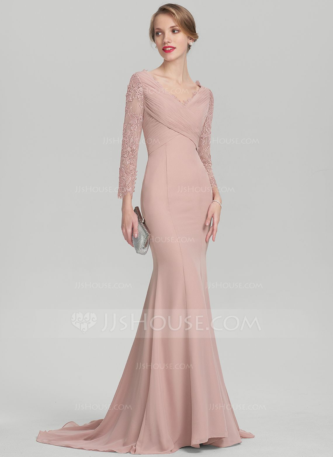 Trumpet/Mermaid V-neck Sweep Train Chiffon Lace Mother of the Bride ...