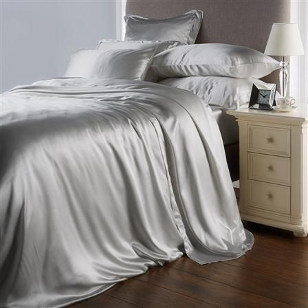 Hotel Living Pure Mulberry Silk King Flat Sheet, Ice Grey