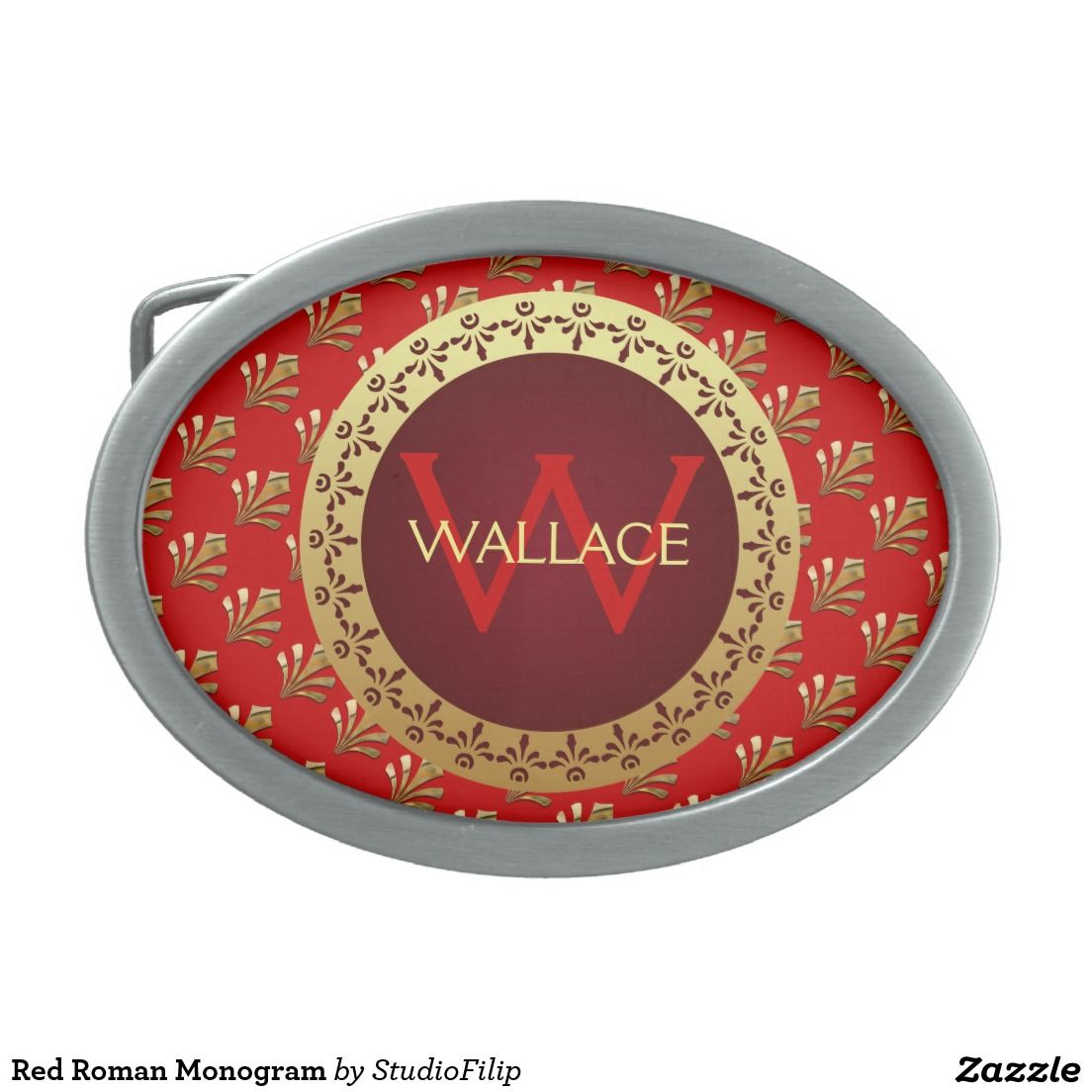Red Roman Monogram Oval Belt Buckle | 15% OFF with coupon code KICKOFFZYEAR | Offer is valid through January 10, 2016 11:59PM PT.