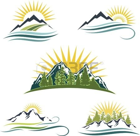 Icon set featuring mountains water and trees Stock Vector