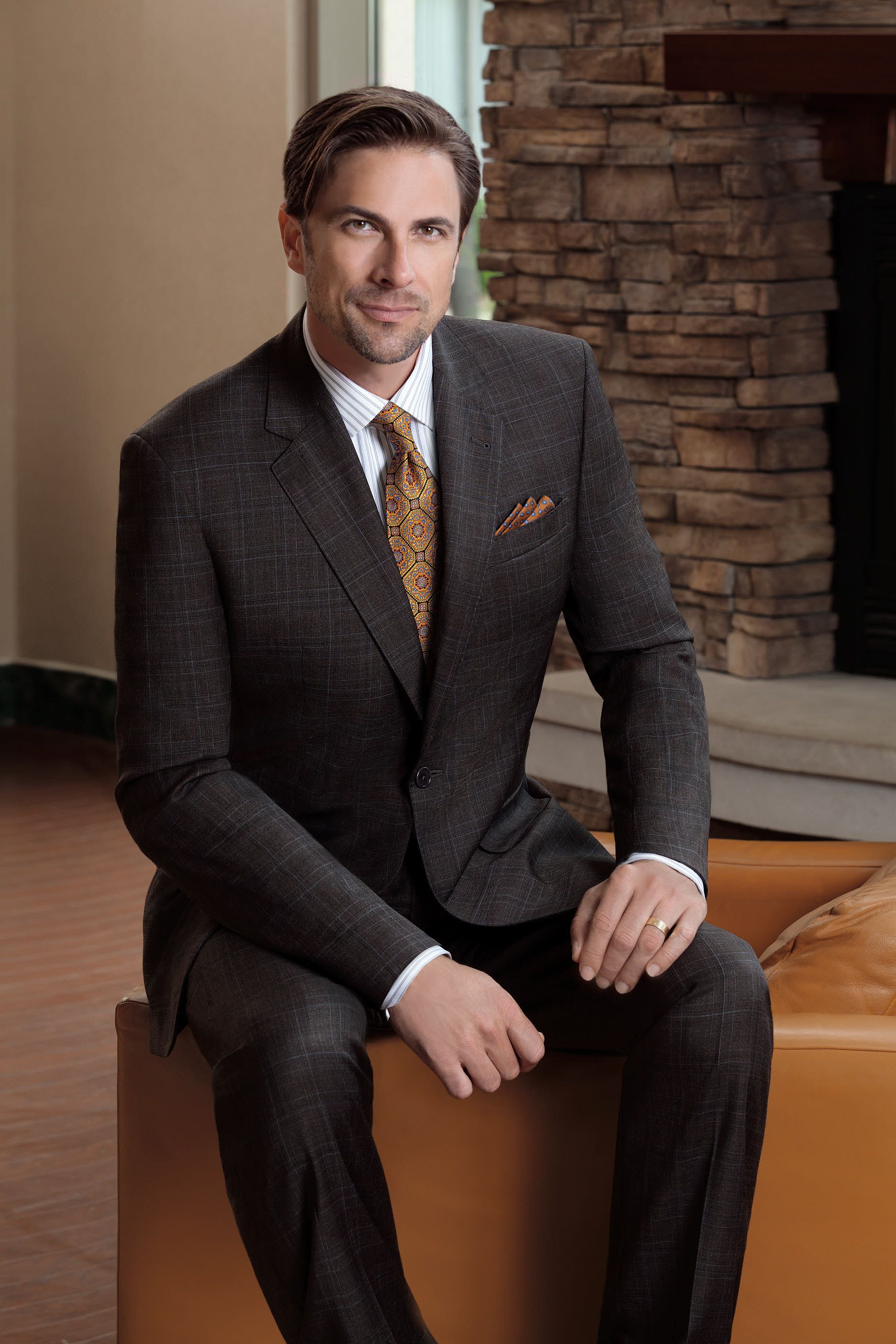 Brown Plaid with Blue Deco Signature Gold Suit. Career