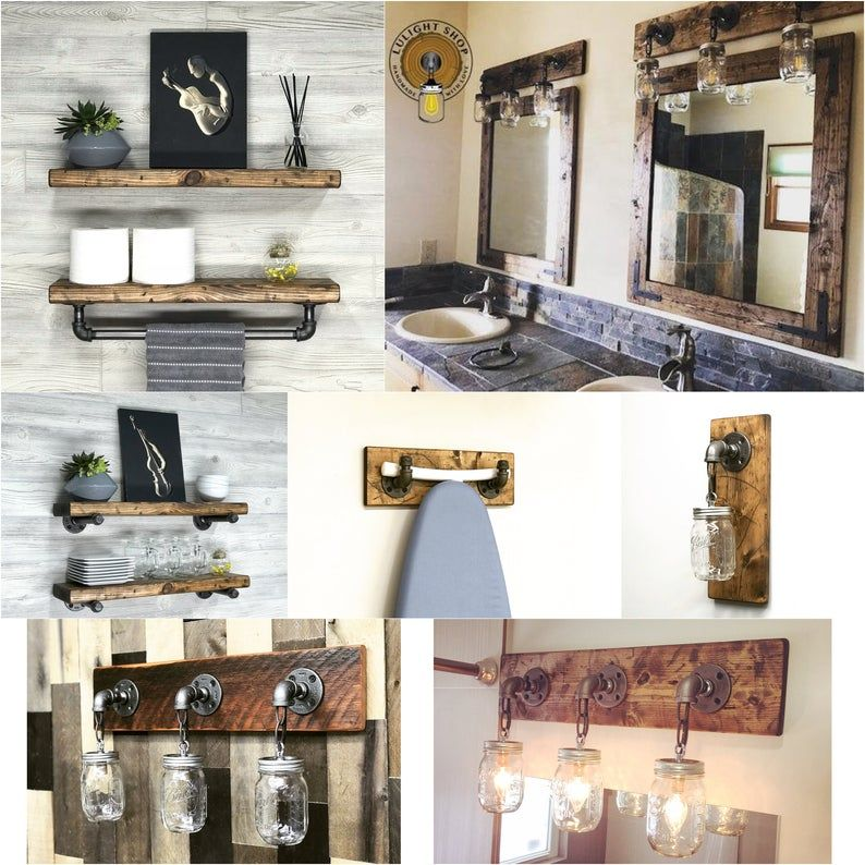 RUSTIC DISTRESSED Mirror With Oil Rubbed Bronze Corner