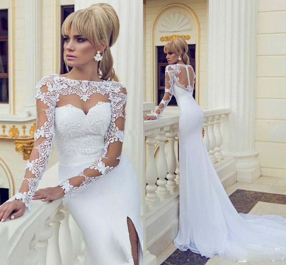 Ball gown wedding dress with bling  Bling Brides Sexy See Through Sheer Lace High Neck Side Slit Chiffon