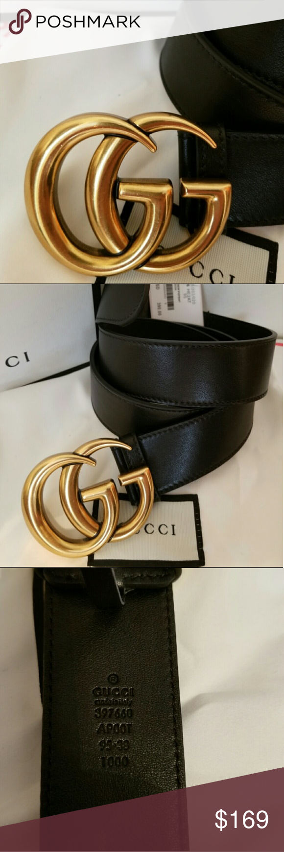 d6f463e73e3 😍Authentic Gucci Belt Black Leather Gold Brass 😍Brand New Gucci Belt Black  Leather with Gold Brass GG Buckle. HOT!  Comes with tags
