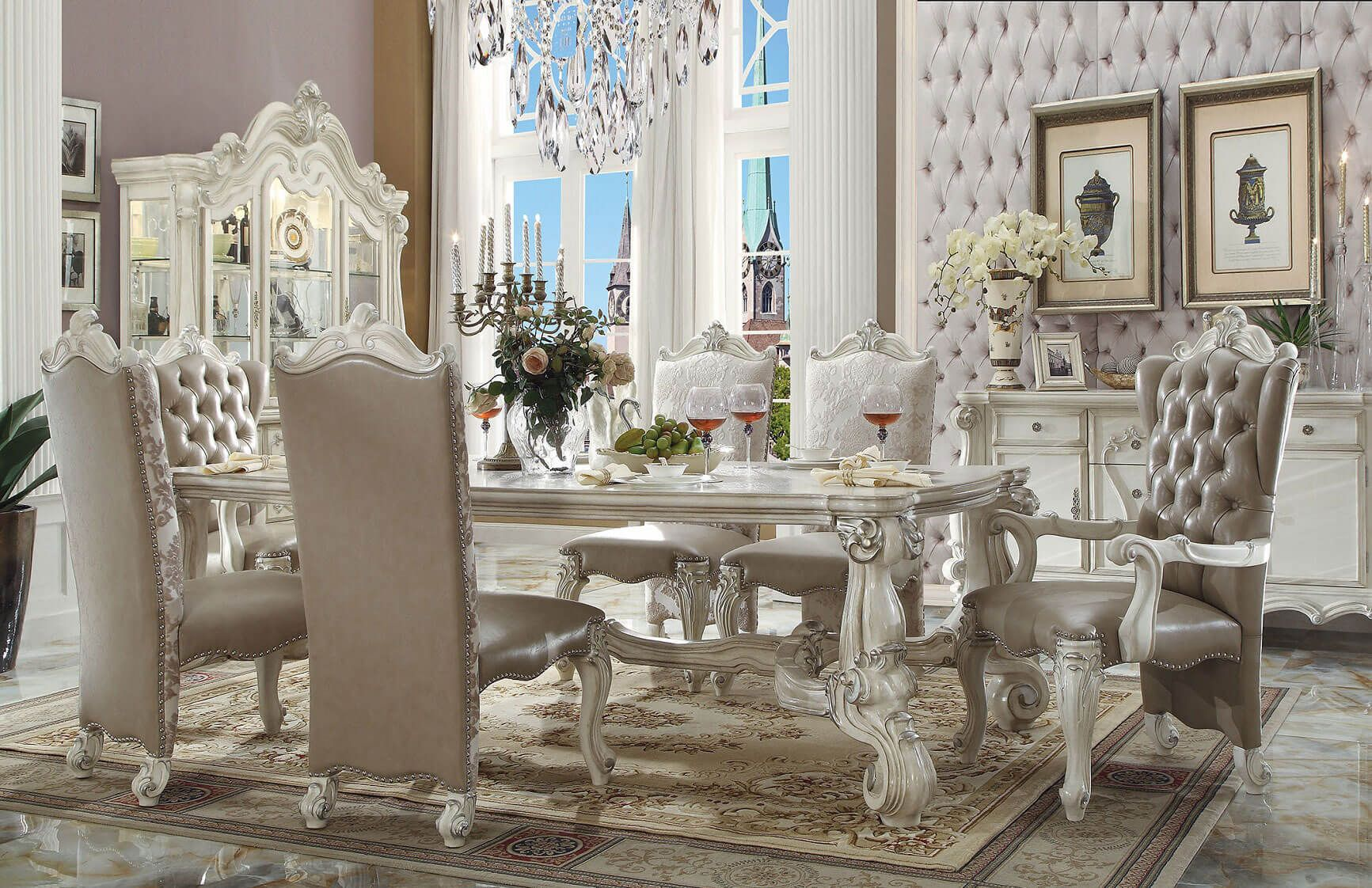 white dining room set formal. Acme Versailles Rectangular Dining Set In Bone White Includes: 1 Table, 4 Side Chairs, 2 Arm Chairs Dimensions: Table: X Chair: Room Formal D