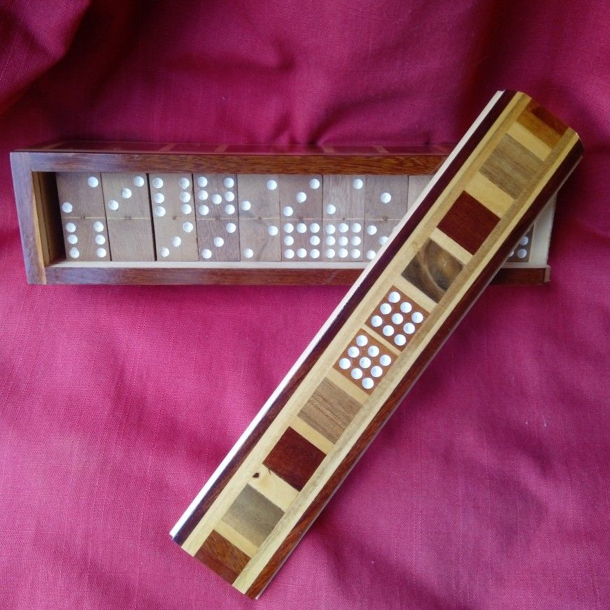 Vintage Handmade Marquetry Wooden DOMINOES Game