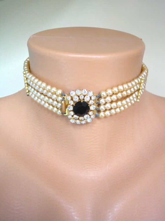Great Gatsby Jewelry Pearl Bridal Choker Pearl And by CrystalPearl, $84.00