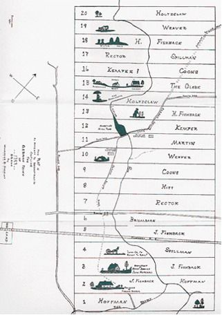 Outline of the German Town of 1729, reconstructed by Woodford B. Hackley (1961). © Memorial Foundation of the Germanna Colonies in Virginia