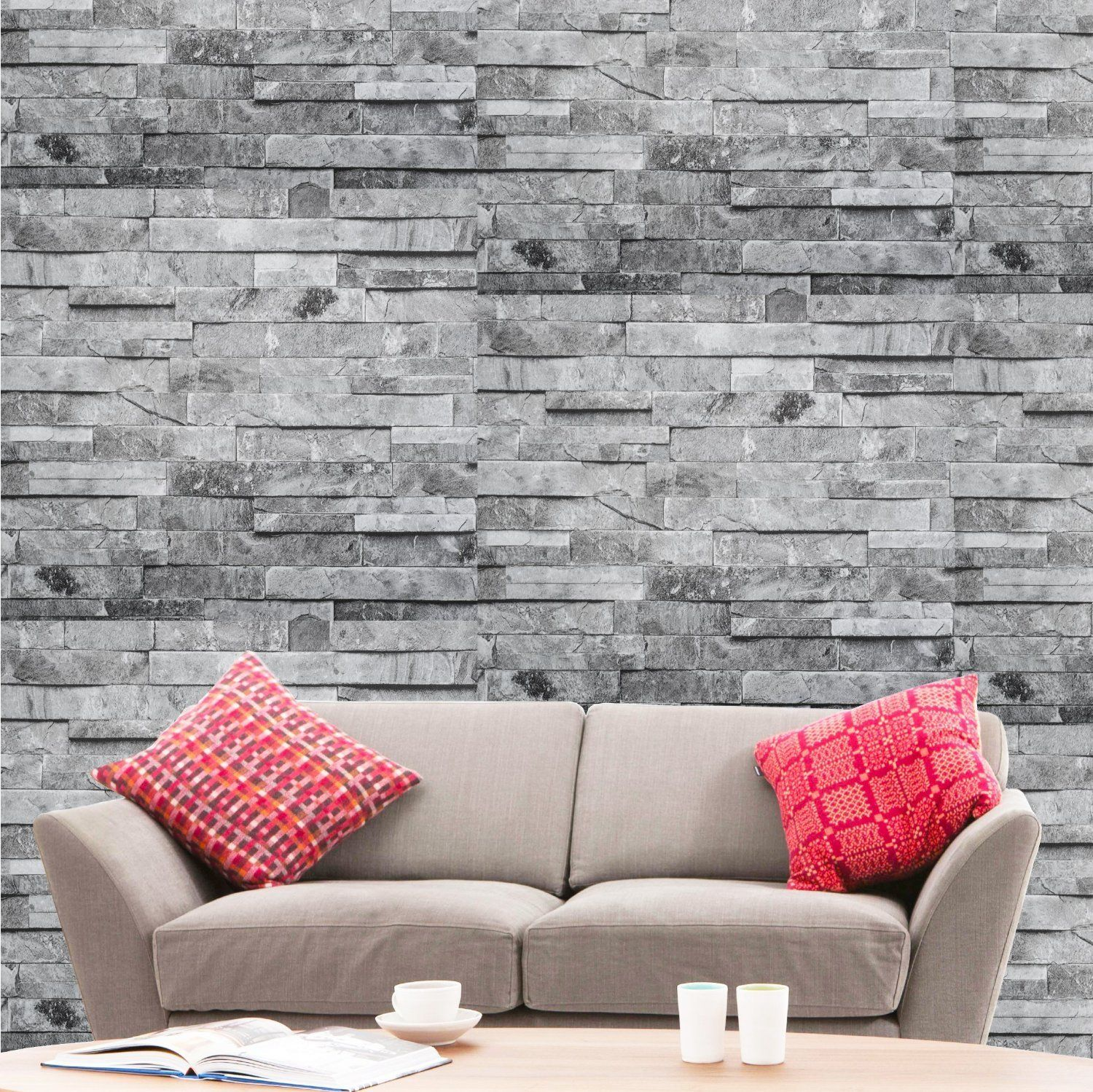 Hyfive® Brick Effect Wallpaper 3D Brick Stone Natural Grey