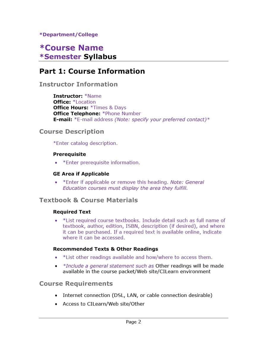 47 Editable Syllabus Templates Course Syllabus ᐅ Template Lab Pertaining To Blank Syllabus Template Best Profess In 2020 Syllabus Template Syllabus Course Syllabus