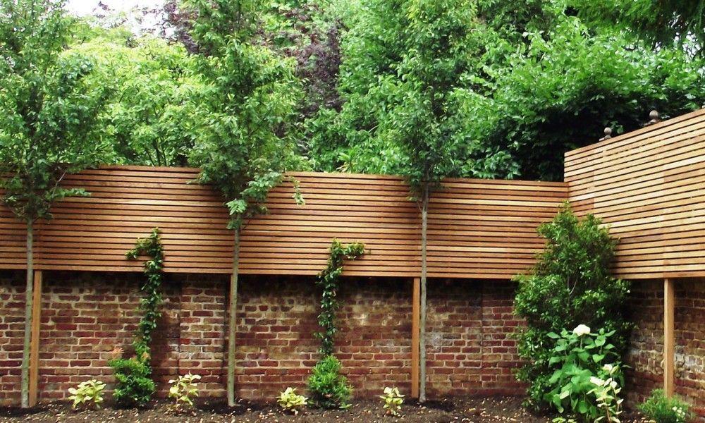 Hardwood Slatted Screening And Half Brick Wall And Lollipop Trees