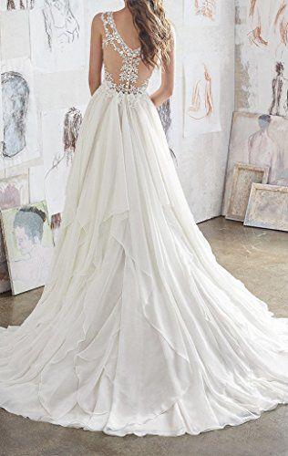 f7f3b46e9803 Dressylady Women's V Neck Lace Applique Chiffon Ruffles Wedding Dress at  Amazon Women's Clothing store: