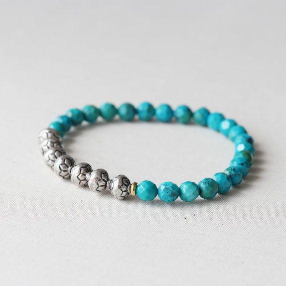 Turquoise Beaded Bracelet Gemstone & Bali Sterling by TheGoosle