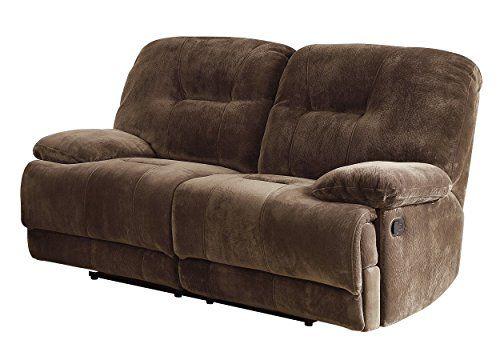 homelegance 97232 upholstered double reclining love seat dark brown rh pinterest com