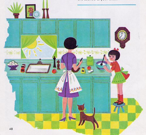Retro Kitchen Illustration: Mother And Daughter In Kitchen, #vintage #illustration