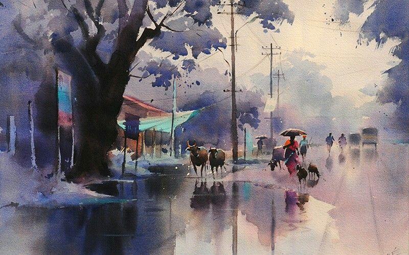 Pin By Ruslan Khidirbekov On Watercolor Watercolor Landscape