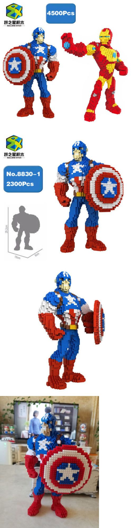 BS Marvel Avengers Captain America Iron Man Mini Building Nano Blocks Toy 2pcs