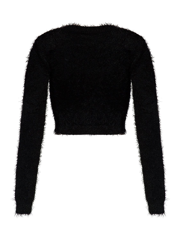 b4de19f0f1e2d Joeoy Women s Fluffy Mohair Long Sleeve Knit Crop Top Sweater Jumper at  Amazon