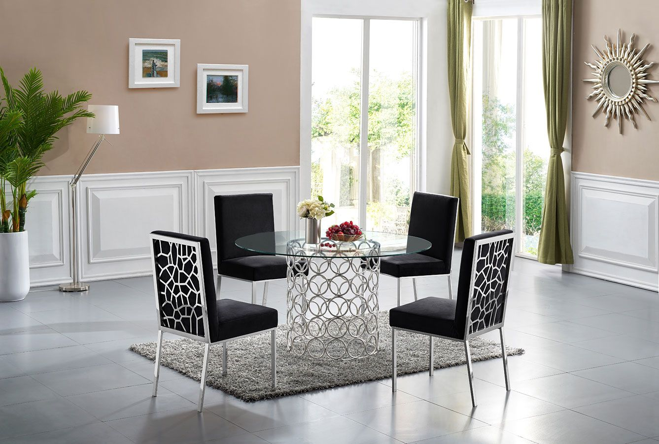 Opal Dining Room Set Black Chrome Luxury Home Decor Meridian