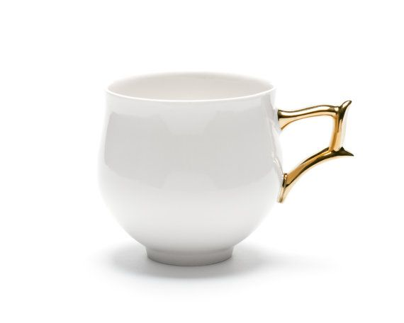 Porcelain Cup White Cup With Gold Handle Ceramic Handmade