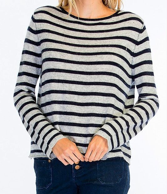 Grey And Navy Stripe Sweater