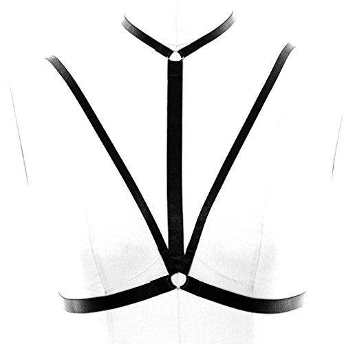 c229bbcb276c1 BBOHSS Black Chest Body Harness Bra Adjustable cage Burlesque Goth Fashion  Elastic