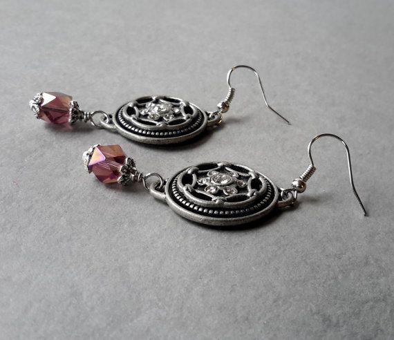 Rhinestone Cowgirl Matte Silver Earrings by SmallPotatoesJewelry, $12.00 #handmadejewelry,  #SmallPotatoesJewelry,  #mala