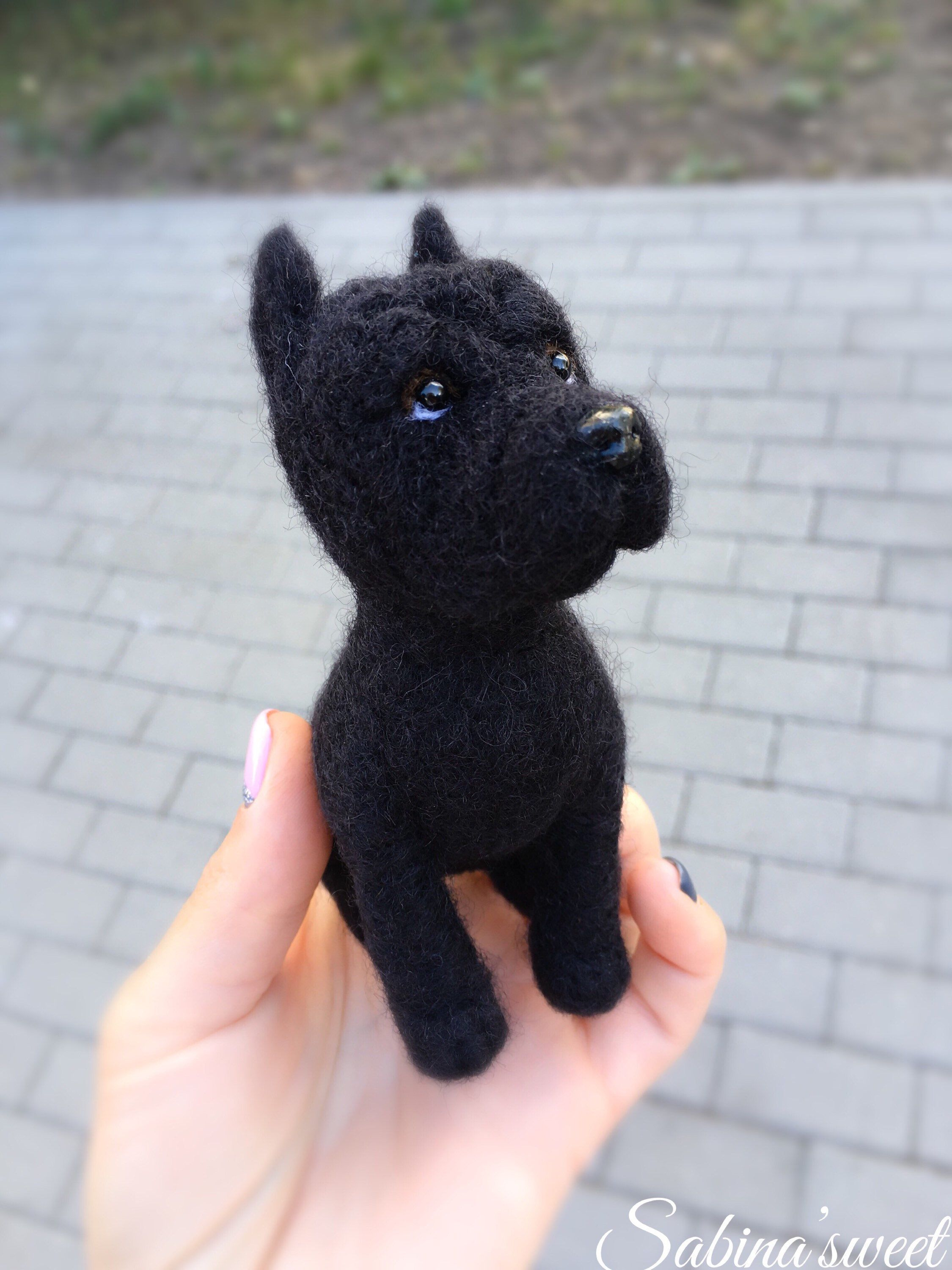 Needle Felted Cane Corso Dog Sculpture Miniature Toy Dog Replica