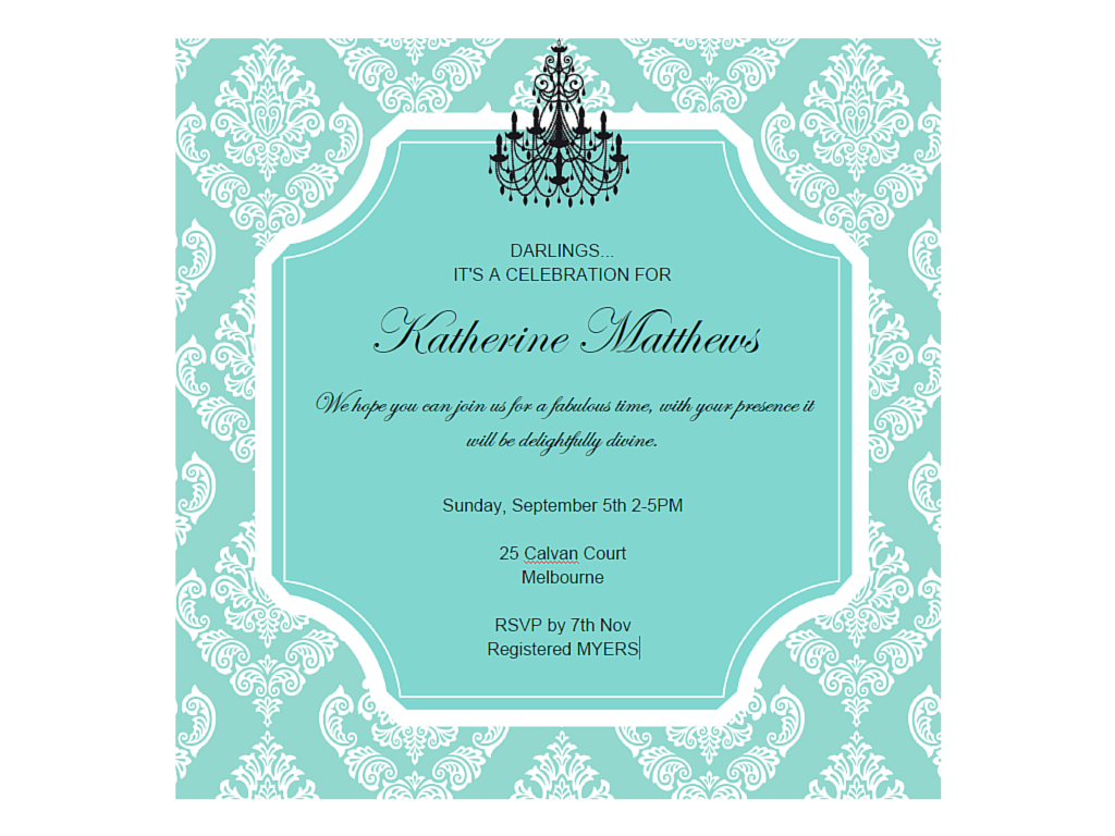 editable tiffany baby shower, bridal shower, birthday invitation ...