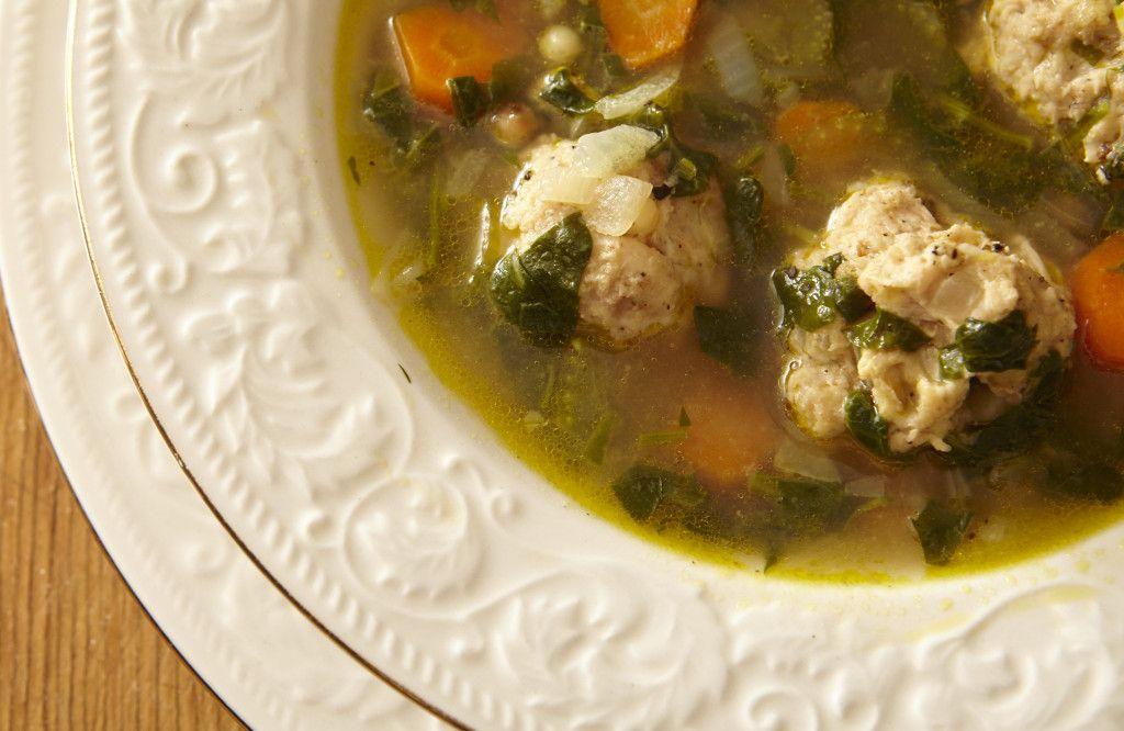 Italian Wedding Soup with Fregola Sarda & Spinach