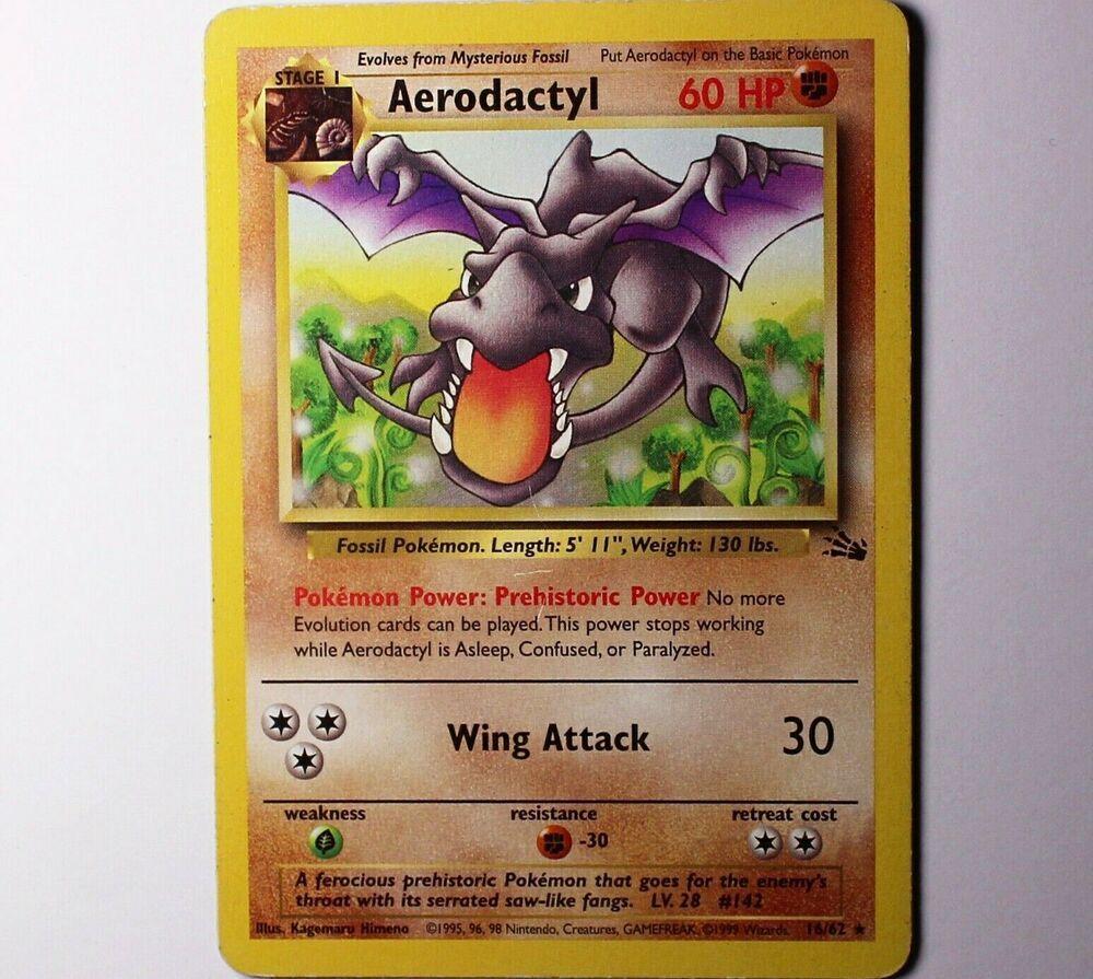 Aerodactyl 16 62 Fossil Set Rare Pokemon Card Non Holo Light Play Ebay Pokemon Cards Pokemon Fossil Pokemon