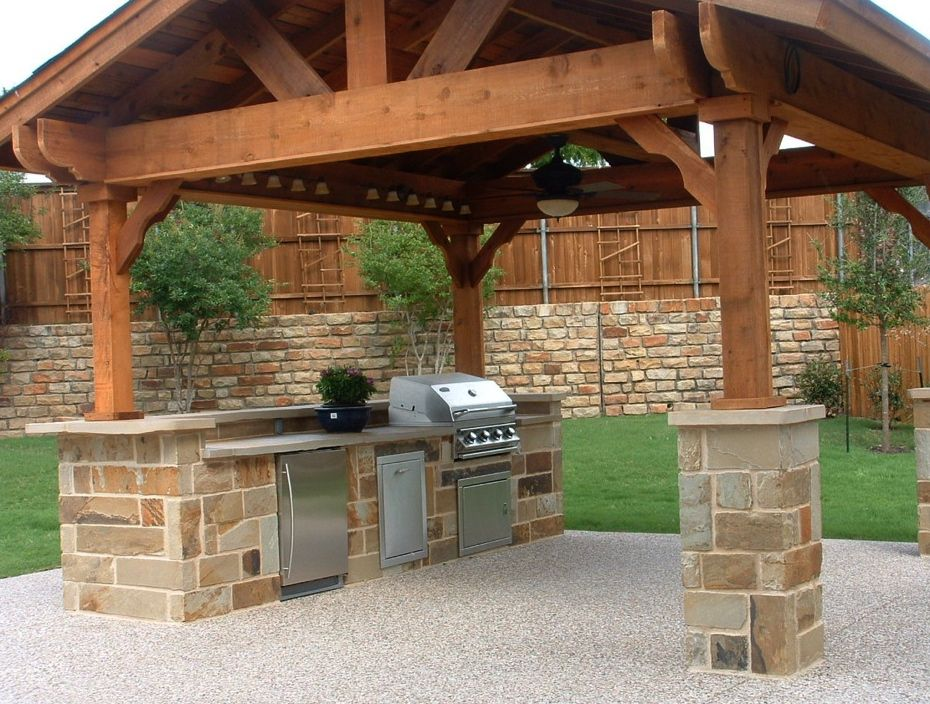 Outdoor Kitchen Under A Stand Alone Covered A Frame Timber Framing