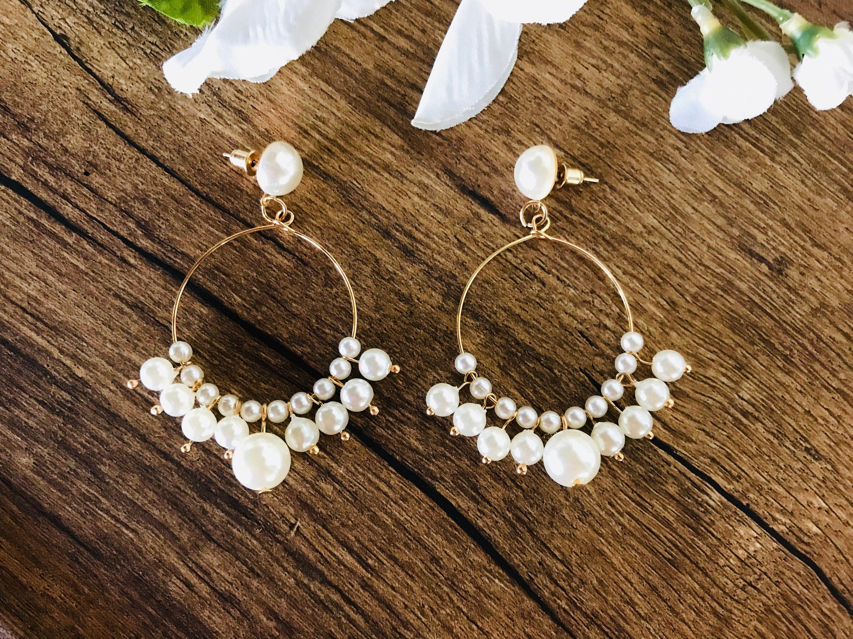 Pearl hoop earrings, gift for her, gold hoop earrings, pearl earrings,  Statement earrings, trendy jewelry | Pearl hoop earrings, Hoops earrings  outfit, Trendy jewelry