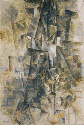 Pablo Picasso, Accordionist, Céret, summer 1911. Oil on canvas, 51 1/4 x 35 1/4…