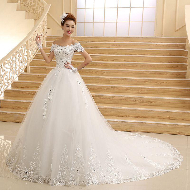 Gowns Robes Picture More Detailed Picture About Vestido De Novia 2015 New Bride Princess Lace Elegant Bridal Gown Wedding Dresses Beaded Wedding Dress Train