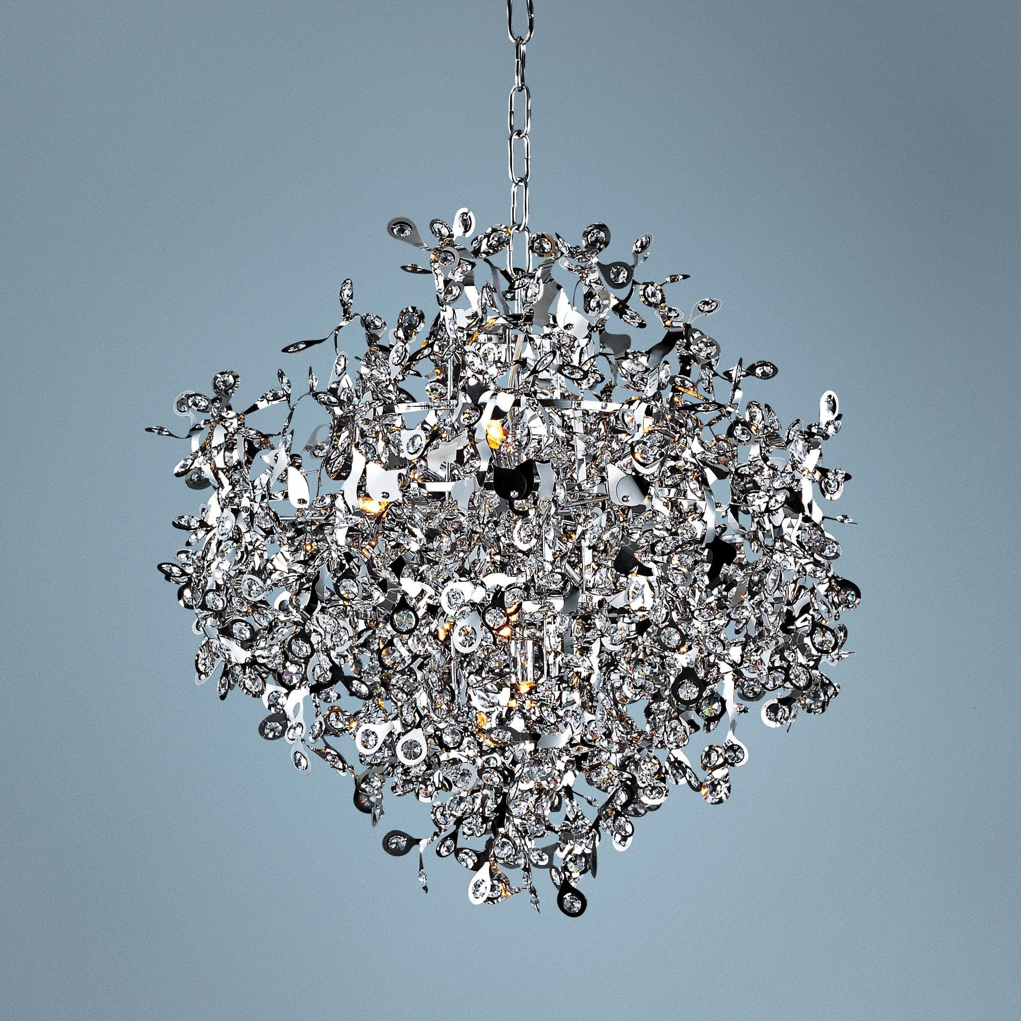 Maxim Comet  Wide Chrome And Crystal Chandelier Dining Rooms - Dining room crystal chandeliers