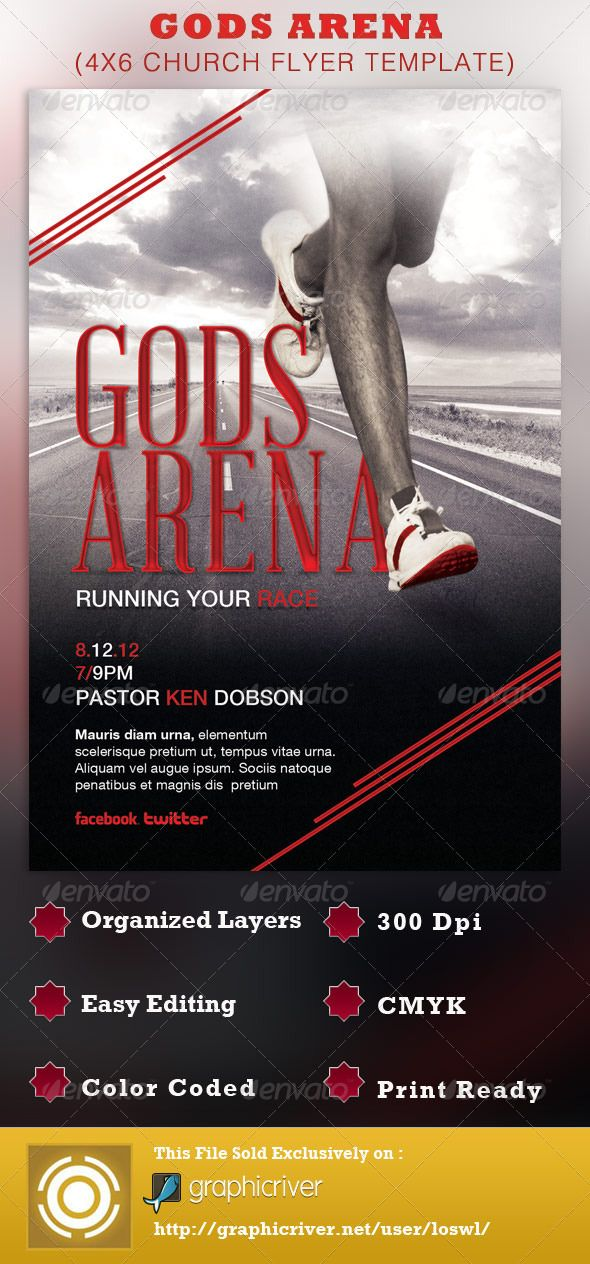 Gods Arena Church Flyer Template  Photoshop Psd Creative Designs