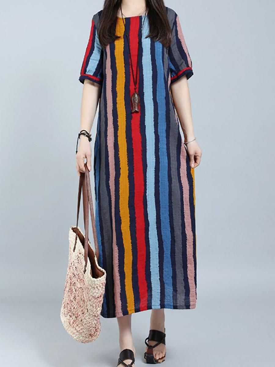 efbf9eb1db #EnvyWe #BerryLook - #berrylook Round Neck Striped Maxi Dress - EnvyWe.com