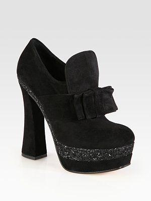 Miu Miu - Glitter-Coated Suede Bow Platform Booties - Saks.com