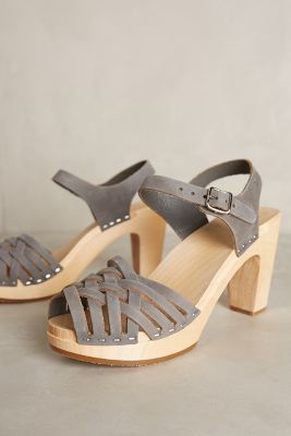 Swedish Hasbeens Braided Sky High Clogs Neutral Wedges #anthrofave