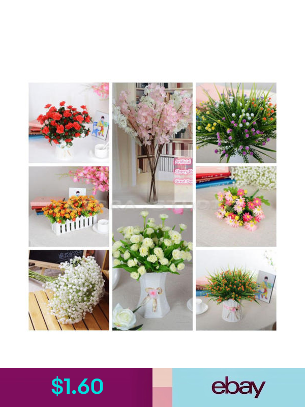 Artificial Plants Flowers Ebay Home Garden Silk Flower Bouquets Artificial Silk Flowers Wedding Party Bouquets