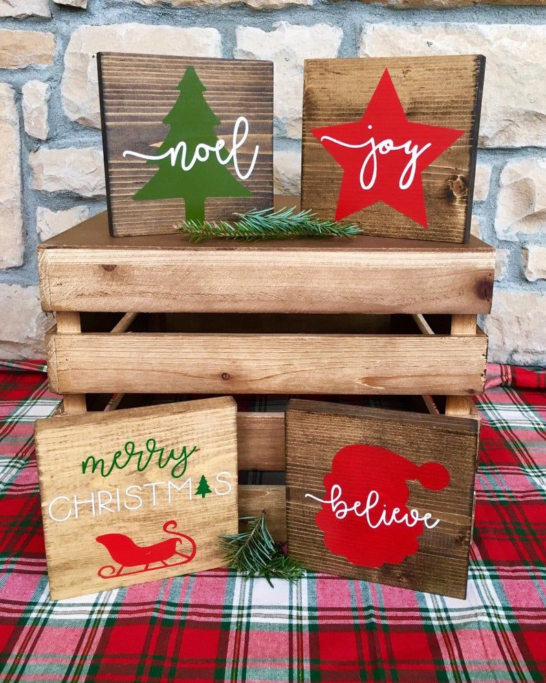 Holiday Mini Wood Signs, Christmas Tree and Noel, Star and