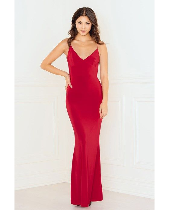 Slinky Fishtail Dress With Deep V Ruched Back - Red - Rebecca Stella ...