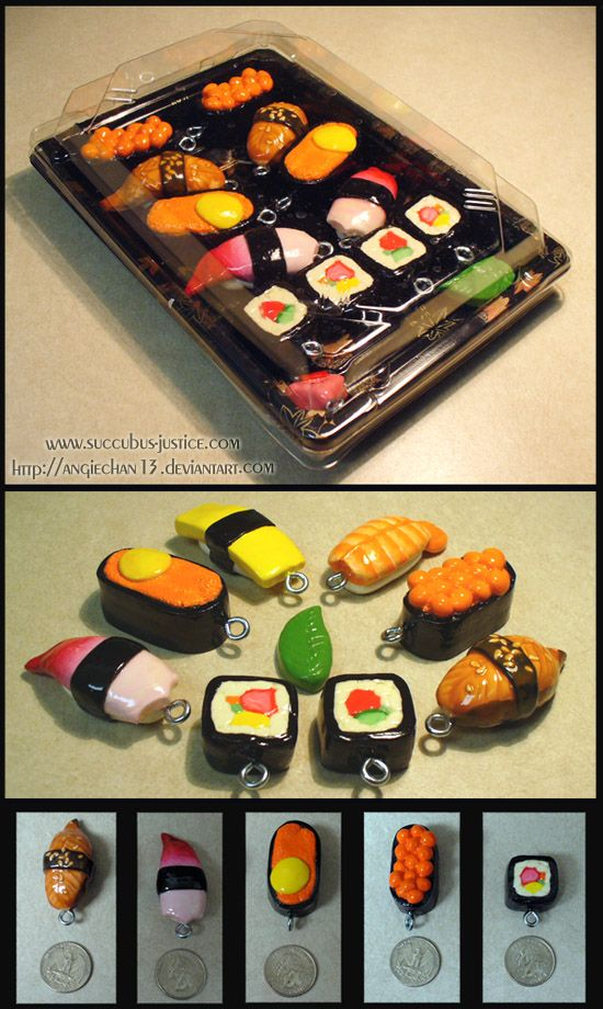 Sushi Keyrings April 2008 by Angiechan13.deviantart.com on @deviantART