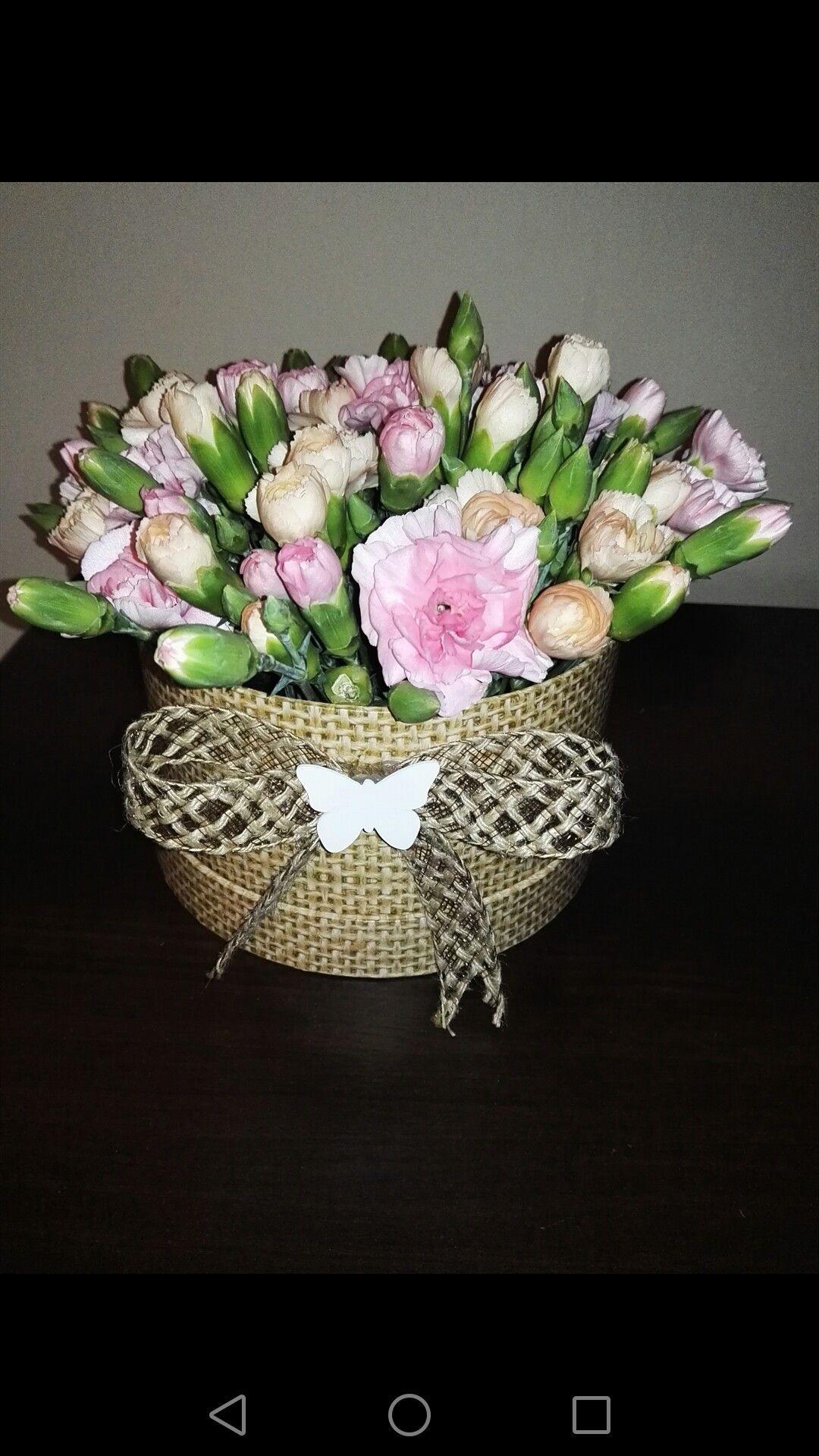 Home Made Flower Box Kwiaty W Pudelku Pomysl Na Bukiet Nowosc Crown Jewelry Jewelry