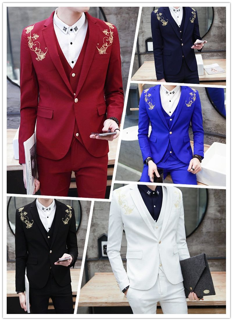 31ff155be96db 2017 Latest Coat Pants Designs Royal Blue Burgundy Black Groom Tuxedos Gold  Embroidery 3 Piece Slim Fit Mens Wedding Prom Suits