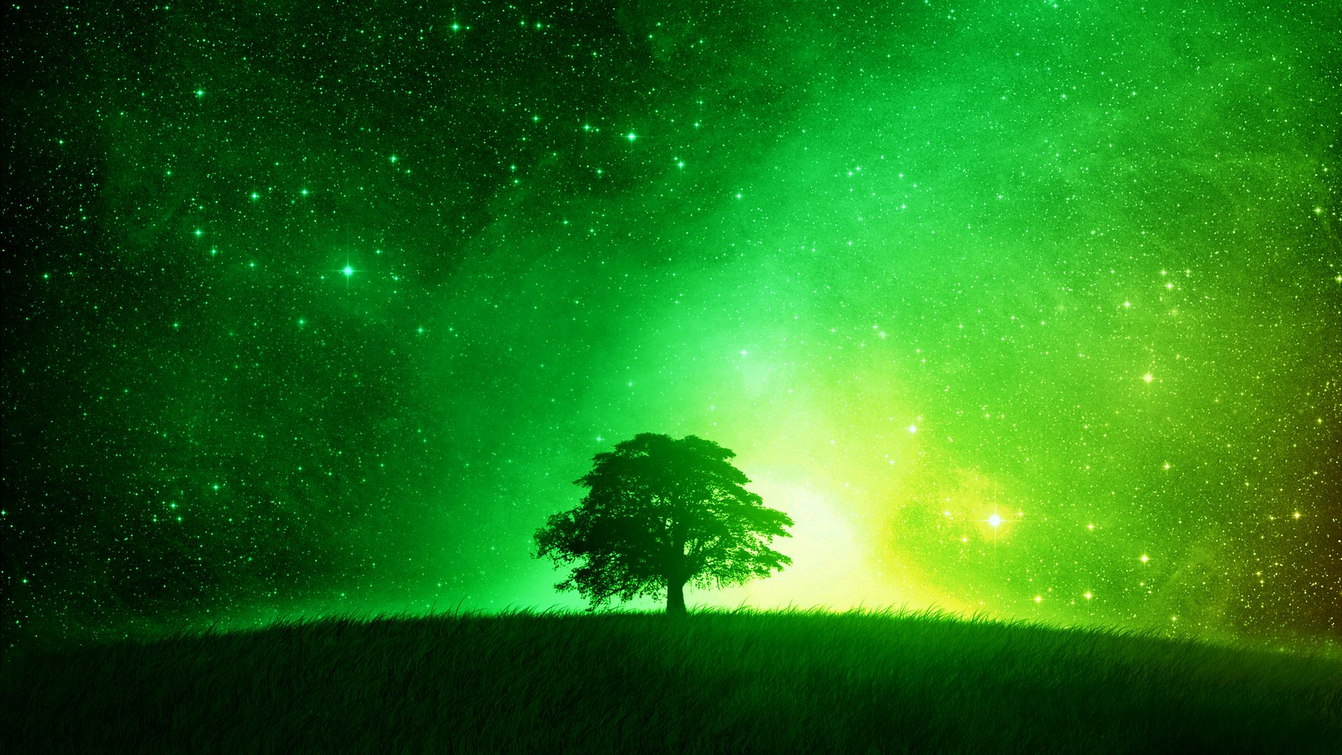 Glowing Green Tree Desktop Background Aesthetic Wallpapers Green Photo Screensaver Pictures