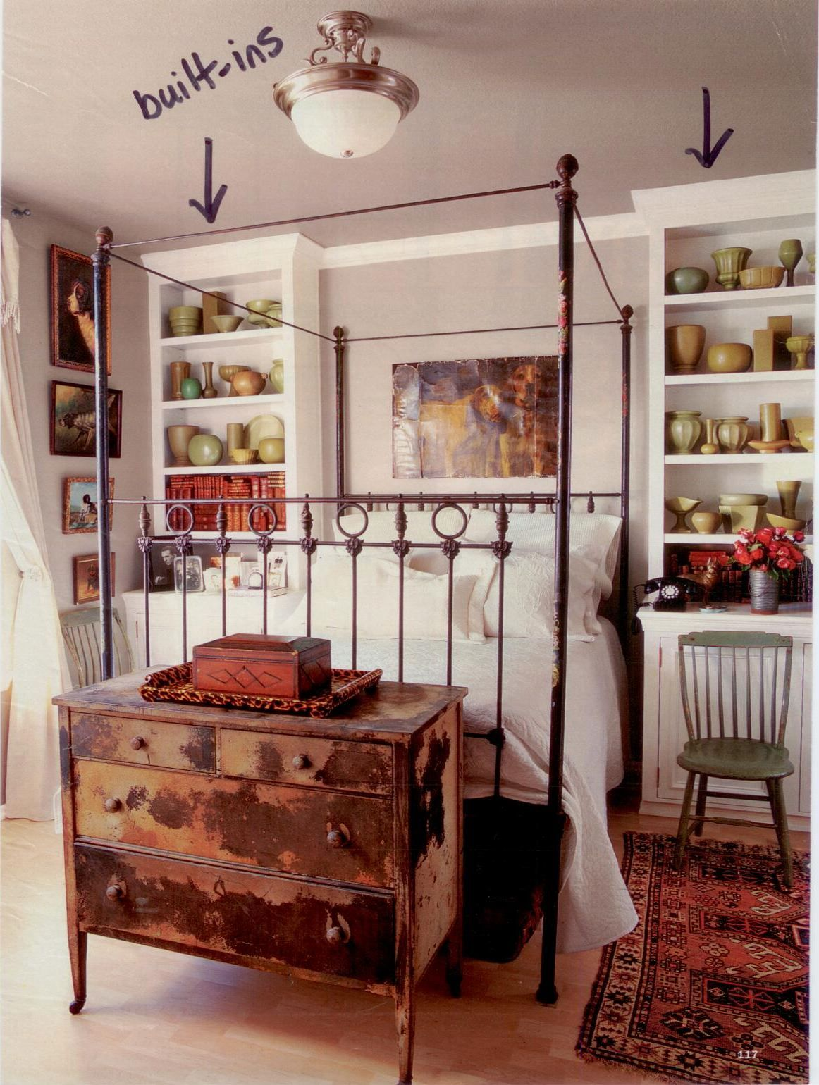 office guest room ideas stuff. Iron Bed And Built In Bookcases Make For A Cozy Bedroom Office Guest Room Ideas Stuff