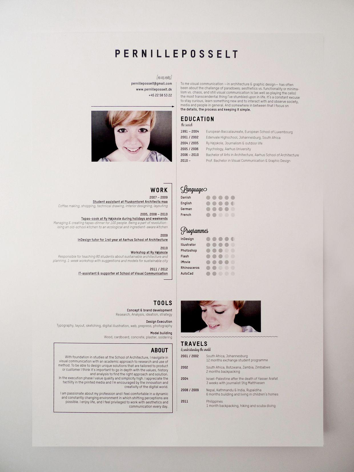 Pernille Posselt | curiculum vitae design | Pinterest | Cv ideas ...